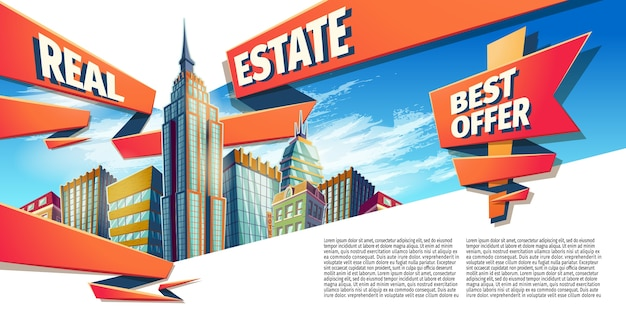 Ilustracji wektorowych kreskówek, baner, tło miejskich z nowoczesnymi budynkami miejskimi