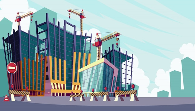 Ilustracji wektorowych kreskówek procesu budowy budynków
