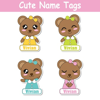Ilustracji wektorowych kreskówek z cute cute kolorowe dziewczynki nadaje się dla dzieci znak tagu zestawu projektu, etykiety i drukowane zestaw naklejek