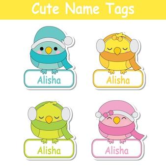 Ilustracji wektorowych kreskówek z kolorowych cute baby dla ptaków nadaje się dla dzieci nazwa tag zestawu projektowania, etykieta nazwy i drukuj naklejki zestaw