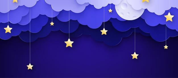 Ilustracji wektorowych. kreskówka dziecinna tło z chmurami i gwiazdami na sznurkach.