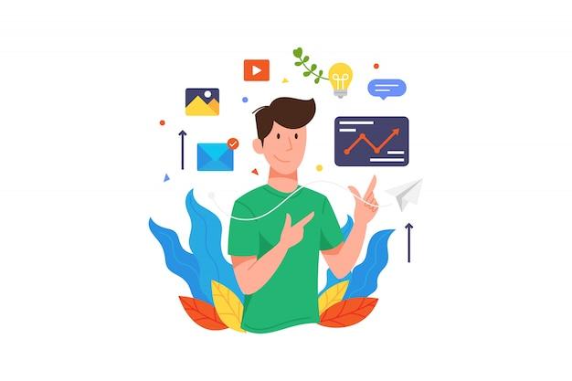 Ilustracji wektorowych mężczyzna pokazać statystyki danych biznesowych