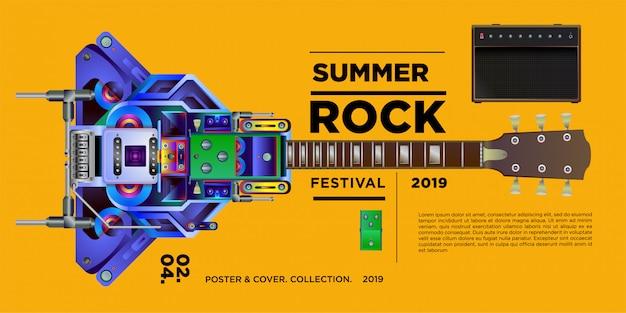 Ilustracji wektorowych muzyka rockowa i festiwal gitarowy