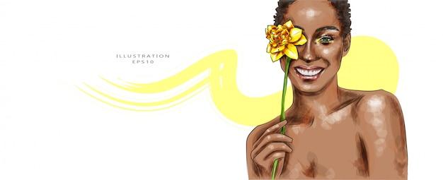 Ilustracji wektorowych. piękna kobieta z makijażem