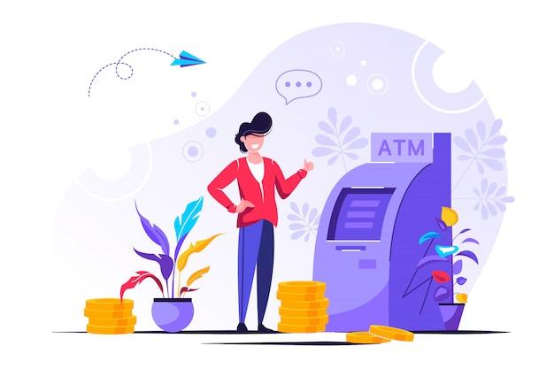 Ilustracji wektorowych, przeprowadzaj transakcje finansowe za pomocą bankomatu