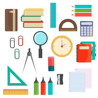 Ilustracji wektorowych przyborów szkolnych.