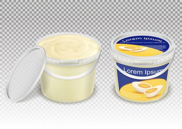 Ilustracji wektorowych realistyczne plastikowe przezroczyste wiadra z produktami spożywczymi