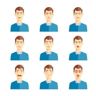 Ilustracji wektorowych różnych ludzkich emocji, zestaw uroczych znaków