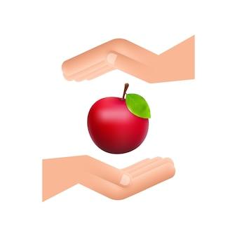 Ilustracji wektorowych szczegółowe duże błyszczące czerwone jabłko wiszące nad rękami.