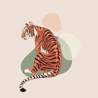 Ilustracji wektorowych tygrys bengalski na abstrakcyjnych plamach symbol tła chińskiego nowego roku