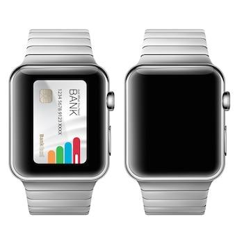 Ilustracji wektorowych w realistycznym stylu koncepcji e-płatności przy użyciu aplikacji na zegarek na nadgarstek.