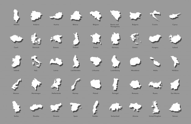 Ilustracji wektorowych z uproszczonymi mapami wszystkich państw europejskich (krajów)