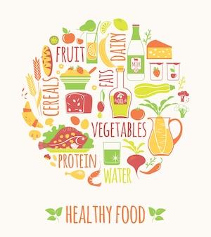 Ilustracji wektorowych zdrowej żywności.