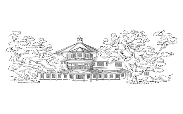 Ilustracji wektorowych ze stylem rezydencji wiejskiej architektury szkicu budynku