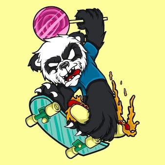 Ilustracyjna charakter panda z łyżwową deską
