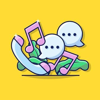 Ilustracyjna grafika biznesowa rozmowa głosowa z handheld telefonem, bąbel czat i ikona dźwiękiem