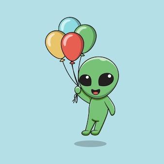 Ilustracyjna grafika cudzoziemców trzymających balony.