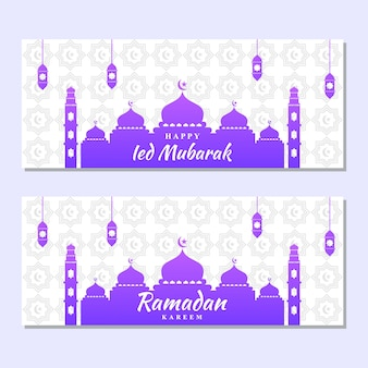 Ilustracyjna grafika ramadan i ied mubarak. dobry moment muzułmański. meczet, luksusowa lampa, księżyc i gwiazdy.