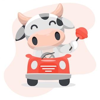 Ilustracyjna grafika urocza krowa z samochodem i cukierkiem.