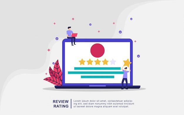Ilustracyjna koncepcja oceny przeglądu. ludzie posiadają gwiazdkę, pozytywną ocenę, ocenę klientów.
