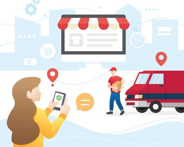 Ilustracyjna koncepcja usług dostawczych