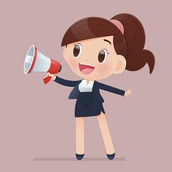 Ilustracyjna kreskówki kobieta krzyczy przez megafonu.