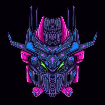 Ilustracyjna maska mecha, może być używana do szablonu koszulki lub logo