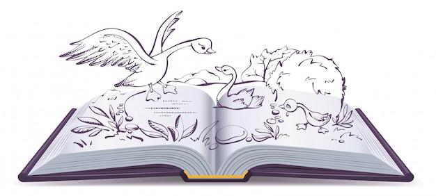 Ilustracyjna otwarta książkowa bajka brzydki kaczątko