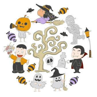 Ilustracyjna ręka rysujący elementu ustawiający charakterów halloween przyjęcie