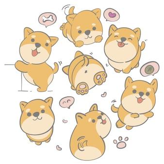 Ilustracyjna ręka rysujący śliczny shiba pies