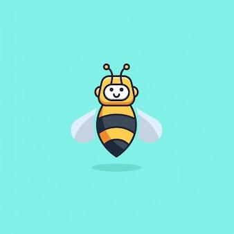 Ilustracyjna robot pszczoły śliczna kreskówka styl