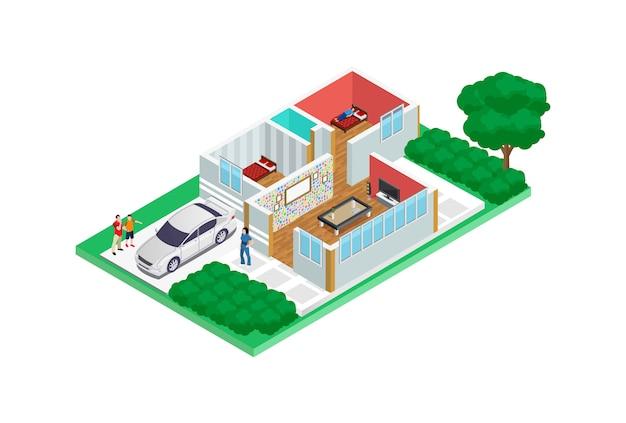 Ilustracyjne izometryczne przykłady domowych szkiców w 3d