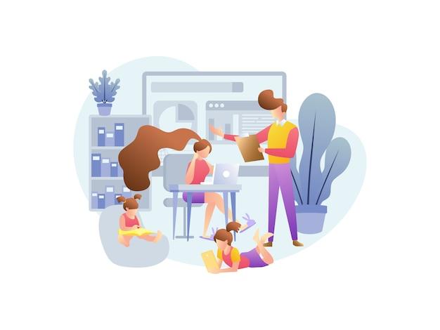 Ilustracyjne koncepcje dotyczące pracy w domu z rodziną