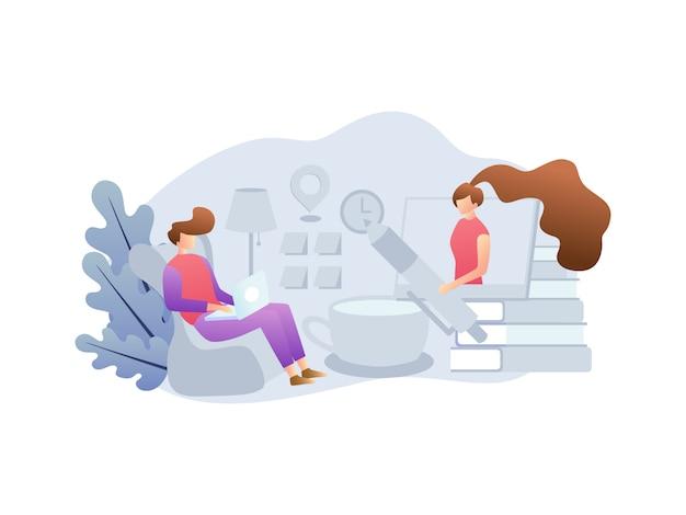 Ilustracyjne koncepcje dotyczące pracy w domu