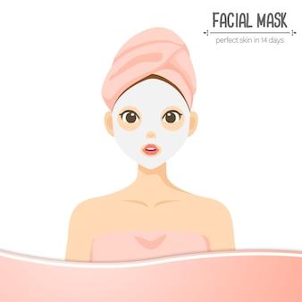 Ilustracyjnego ślicznego charakteru twarzowa maska odizolowywająca
