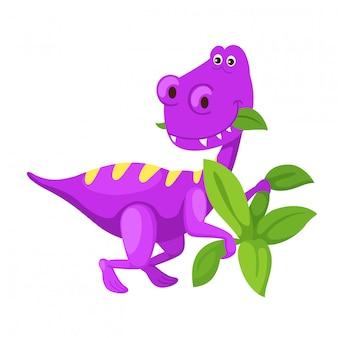 Ilustracyjnej kreskówki śliczny dinosaur odizolowywający na białym tle