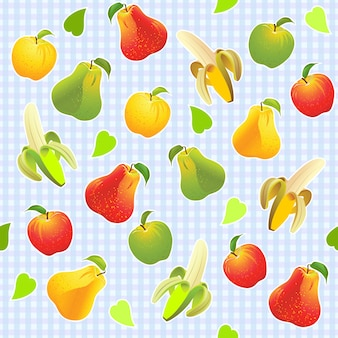 Ilustracyjny bezszwowy wzór z różnymi owoc