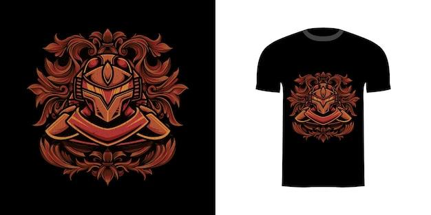 Ilustracyjny cyborg z ornamentem grawerującym do projektu koszulki