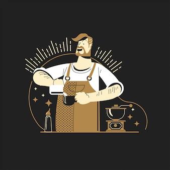 Ilustracyjny męski barista robi kawowemu latte w kawowym barze