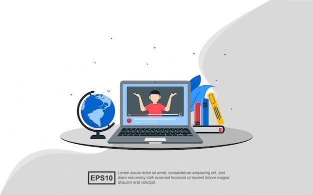 Ilustracyjny pojęcie edukacja online