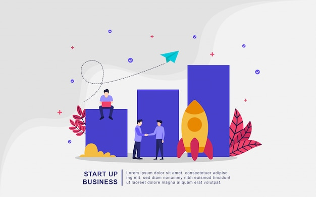Ilustracyjny pojęcie początkowy biznes. rozpocznij nowy projekt od początku