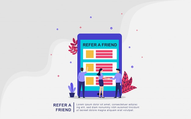 Ilustracyjny pojęcie polecać przyjaciela. ludzie dzielą się informacjami o poleceniu i zarabiają pieniądze, współpracują z partnerami i zarabiają pieniądze. strategia koncepcji marketingowej. nadaje się do strony docelowej, interfejsu użytkownika, aplikacji mobilnej.