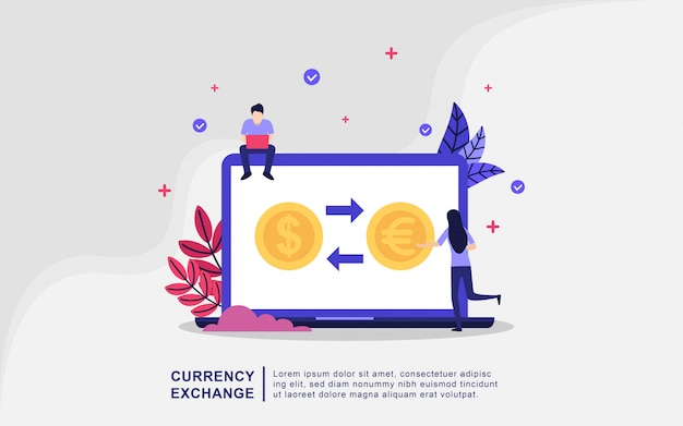 Ilustracyjny pojęcie wymiana walut z malutkimi ludźmi