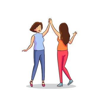 Ilustracyjny pojęcie z kobietami daje wysokości pięć