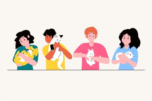 Ilustracyjny pojęcie z ludźmi ma zwierzęta domowe