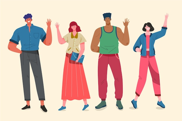 Ilustracyjny pojęcie z ludźmi macha rękę