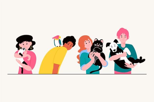 Ilustracyjny pojęcie z ludźmi z zwierzętami domowymi