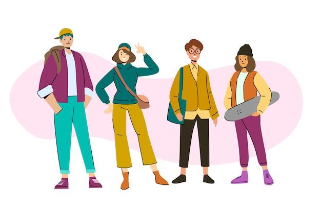 Ilustracyjny pojęcie z młodymi ludźmi