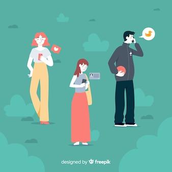 Ilustracyjny pojęcie z postaciami trzyma telefony