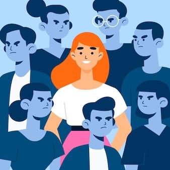 Ilustracyjny pojęcie z uśmiechniętą osobą w tłumu